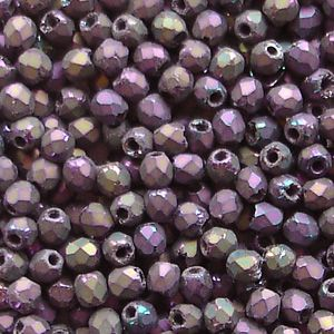 2.5mm Fire Polished, Matt Purple Iris - 100