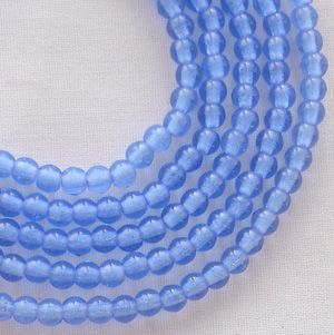 3mm Round Czech Glass Beads Medium Sapphire- 100