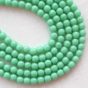 3mm Round Czech Glass Beads Turquoise - 100