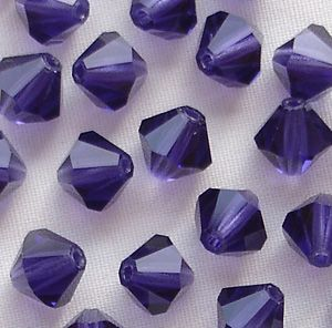 6mm Preciosa Crystal Bicone Deep Tanzanite - 72