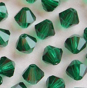 6mm Preciosa Crystal Bicone Emerald - 20