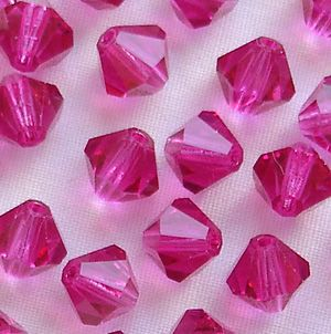 6mm Preciosa Crystal Bicone Fuschia - 20
