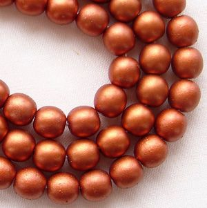 6mm Round Czech Glass Beads Copper Satin - 50