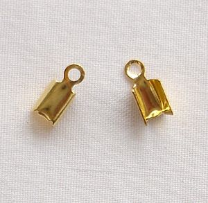 Gold Plated 5mm Cord Ends - 10 Pairs