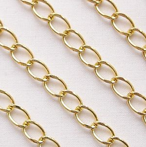 Gold Plated Open Link Curb Chain - 1 metre
