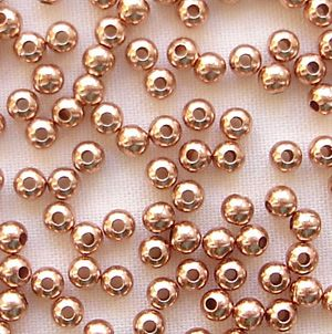 Rose Gold Plated Beads 2.5mm Round - 100