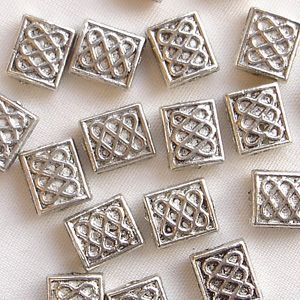 "Silver Plated ""Pewter"" Beads 7 x 6mm Celtic Square - 20"