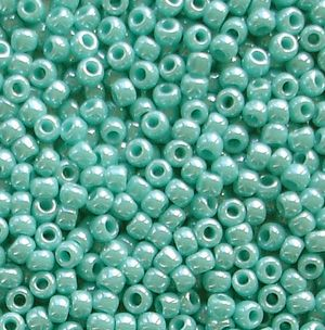 Toho 11/0 Seed Beads  Opaque Lustred Turquoise 132 - 10 grams