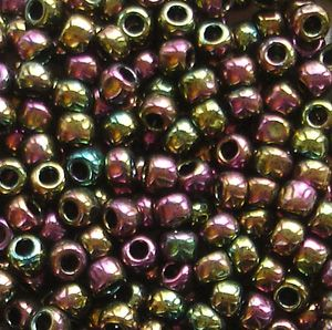 Toho 8/0 Seed Beads  Higher Metallic Purple Green Iris 509 - 10 grams
