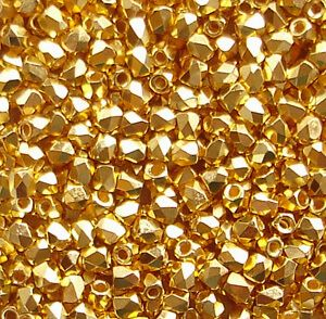 True 2mm Fire Polished, 24K Crystal Gold Plate - 50